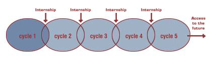 graphic of Deming Scholars internship cycle