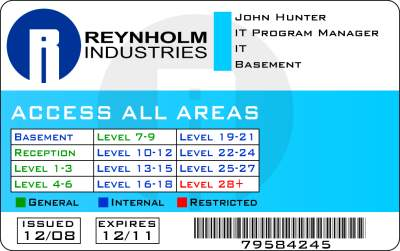 John Hunter's IT Crowd badge (Reynholm Industries)