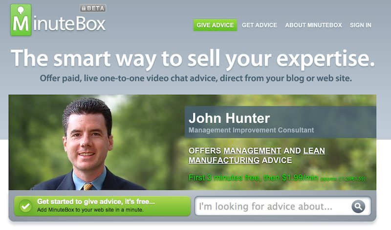 home page of MInute Box with John Hunter graphic