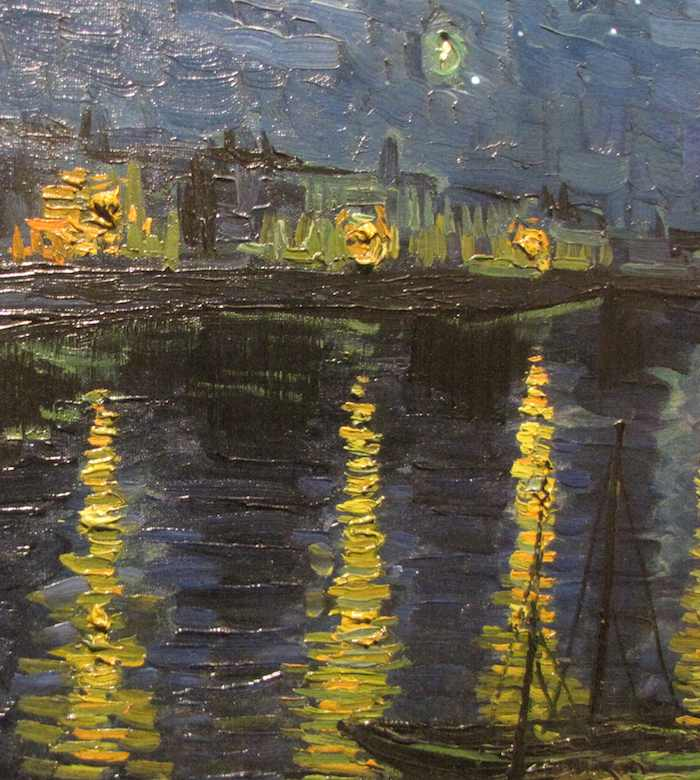 close up photo of part of Van Gogh's painting: Starry Night