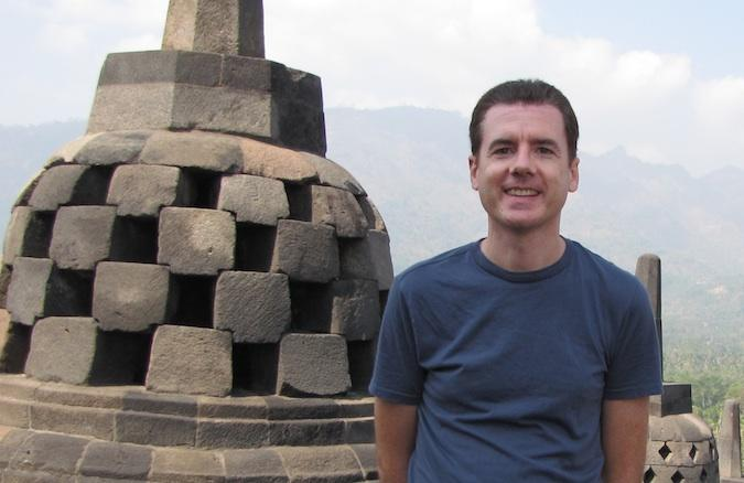 photo of John Hunter at the Borobudur Temple