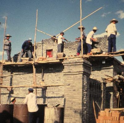 photo of construction site in Mongolia, 1980s