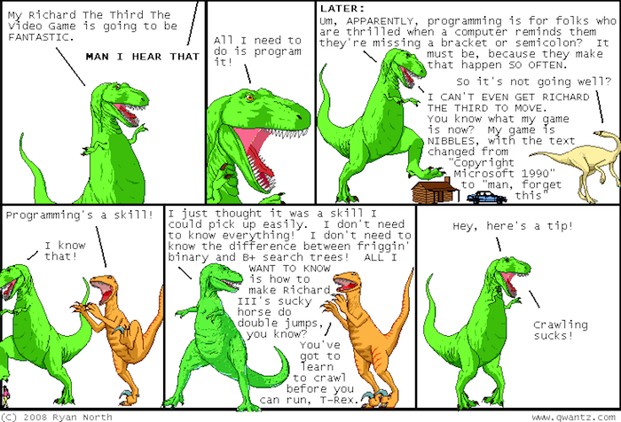 comic strip of dinasours discussing computer coding