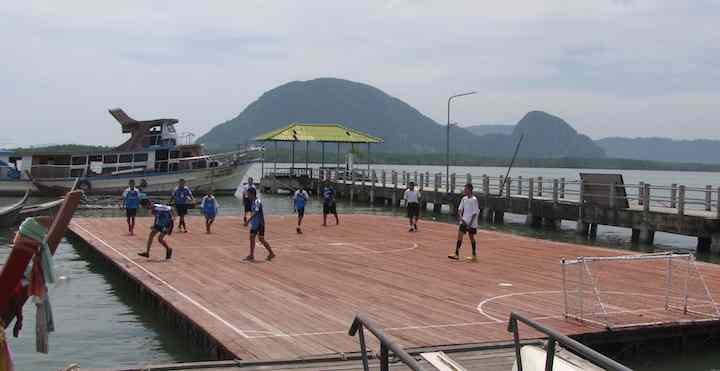 photo of a floating football pitch