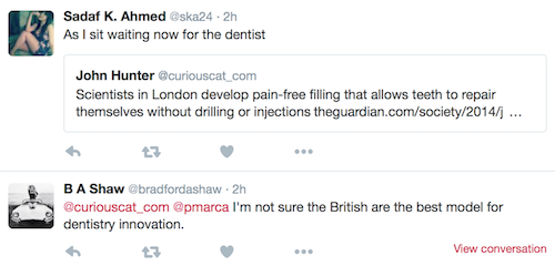comments on the dental tweet