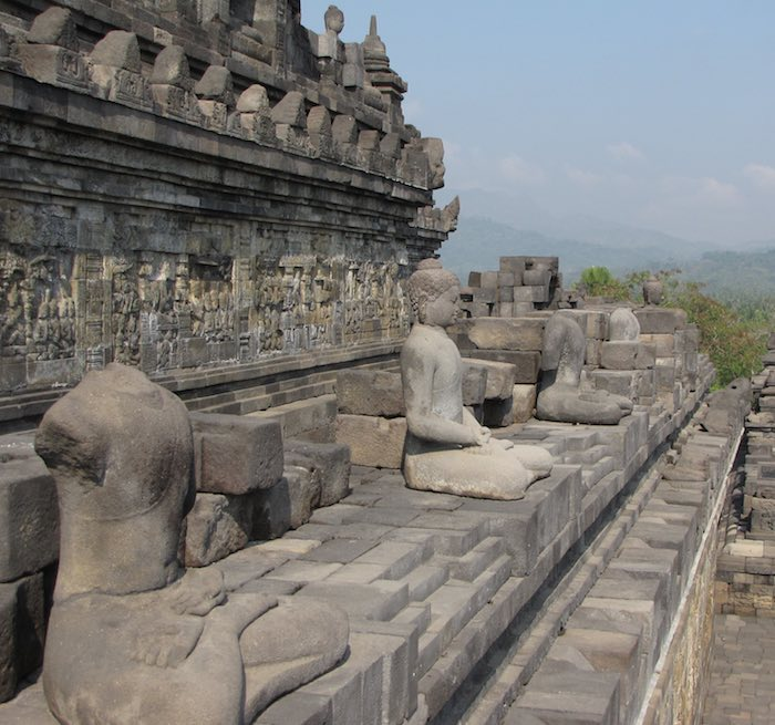 view of Borobudur temple with hills in the background