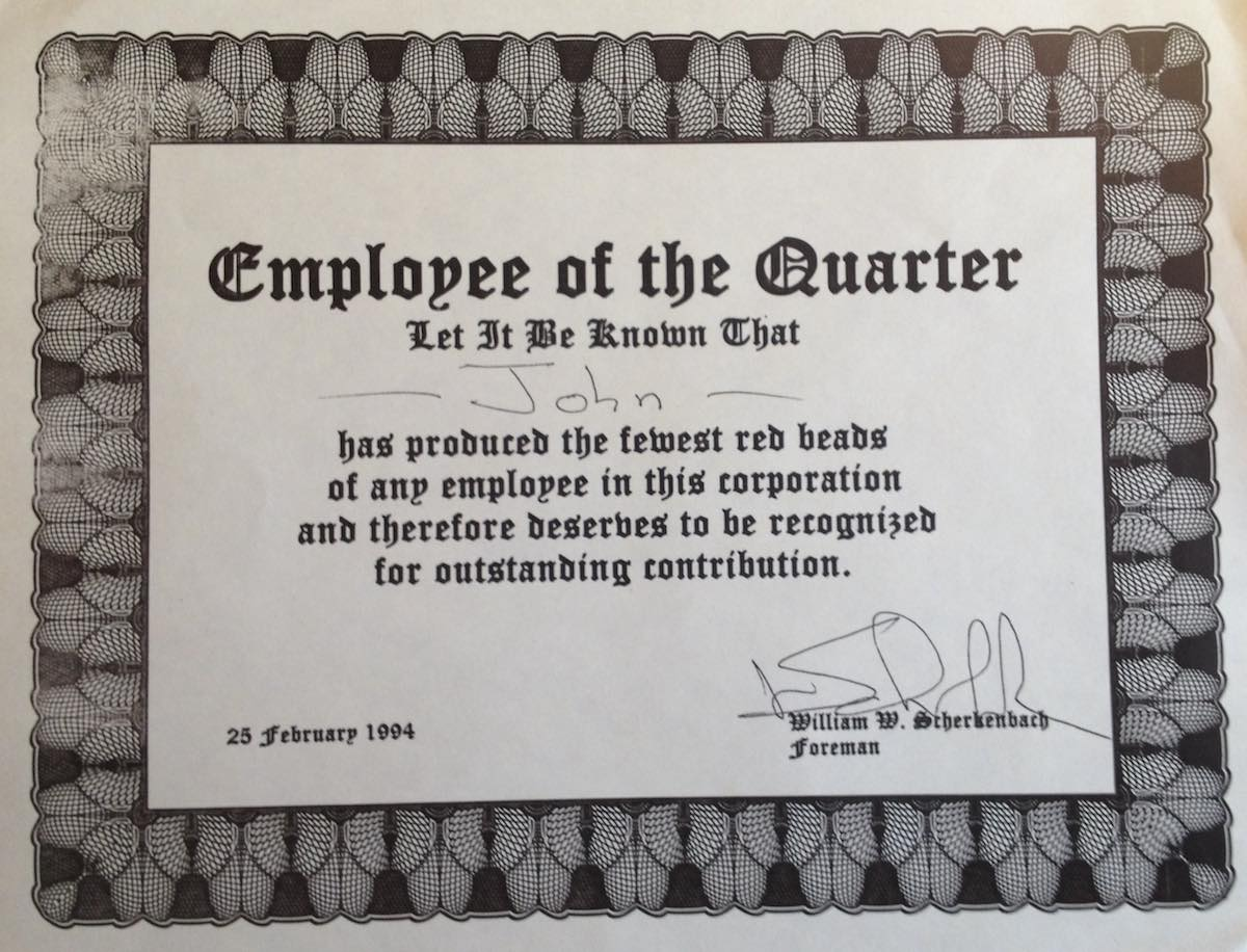 award certificate - employee of the quarter